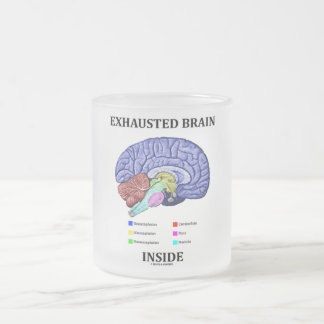 Exhausted Brain Inside (Anatomical Brain Humor) 10 Oz Frosted Glass Coffee Mug