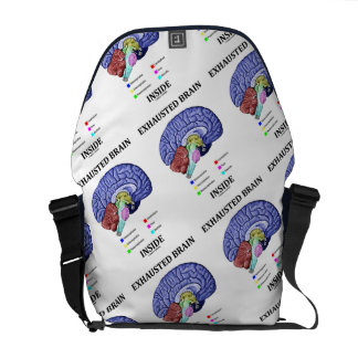 Exhausted Brain Inside Anatomical Brain Humor Courier Bag
