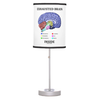 Exhausted Brain Inside Anatomical Brain Humor Desk Lamp
