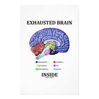 Exhausted Brain Inside (Anatomical Brain Humor) Stationery
