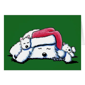Exhausted Holiday Westies Card
