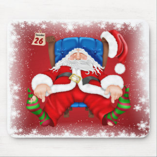 Exhausted Santa Clause Christmas Holiday Mouse Pad