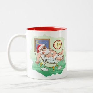 Exhausted Santa taking a bath after Xmas delivery Two-Tone Coffee Mug