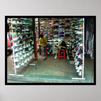 exhausted shoe salesmen in kuala lumpur, malaysia poster