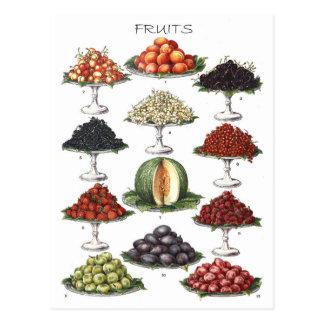 Exhibición de diversas frutas en los discos tarjeta postal
