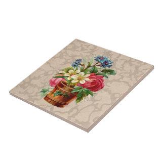 Exhibición de la flor del estilo del Victorian del Azulejo Cuadrado Pequeño