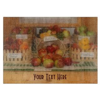 Exhibición de la fruta de la feria del condado tablas de cortar