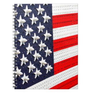 Exhibición de la luz de la bandera americana libreta