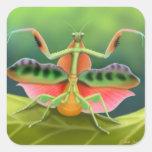Exhibición de la mantis religiosa pegatina cuadrada