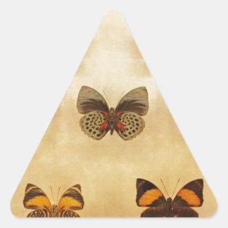 Exhibición de la mariposa del vintage pegatinas de triangulo personalizadas
