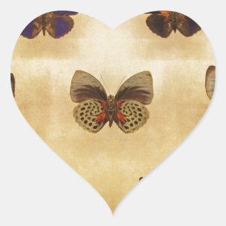 Exhibición de la mariposa del vintage pegatina en forma de corazón