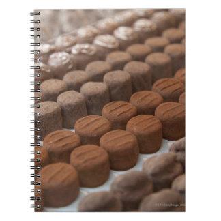 exhibición de la tienda de la tienda del chocolate spiral notebooks