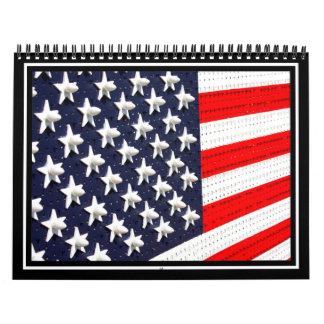 Exhibición de las luces de la bandera americana calendario de pared