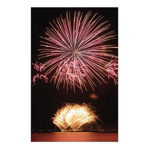 exhibición de los fuegos artificiales papeleria personalizada