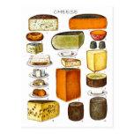 Exhibición de tipos de queso tarjetas postales