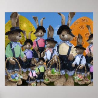 Exhibición del conejito de pascua póster