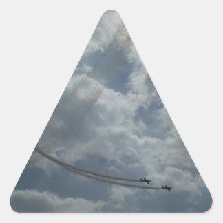 Exhibición del vuelo de truco pegatina triangular