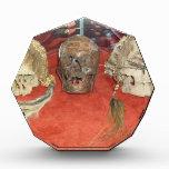 Exhibición encogida del vudú de las cabezas