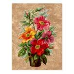 Exhibición floral grabada en relieve estilo del ef tarjetas postales