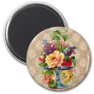 Exhibición floral texturizada del vintage imán redondo 5 cm