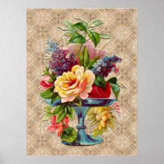 Exhibición floral texturizada del vintage póster
