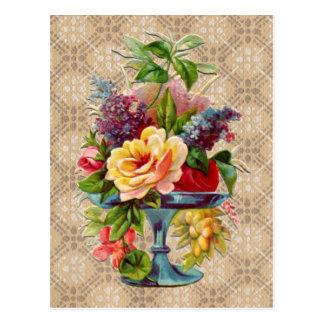 Exhibición floral texturizada del vintage tarjeta postal