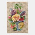 Exhibición floral texturizada del vintage toalla
