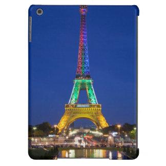 Exhibición ligera colorida en la torre Eiffel Funda Para iPad Air