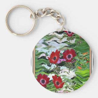 Exhibición roja elegante de la flor de la anémona llavero redondo tipo pin