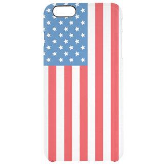 Exhibición vertical de la bandera de los Estados Funda Clear Para iPhone 6 Plus