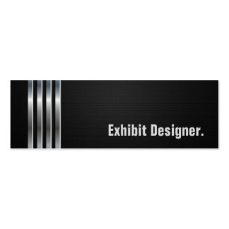 Exhibit Designer - Black Silver Stripes Double-Sided Mini Business Cards (Pack Of 20)