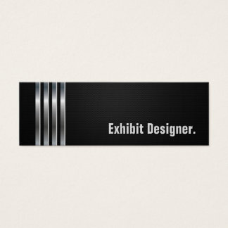 Exhibit Designer - Black Silver Stripes Mini Business Card