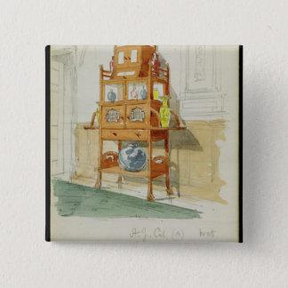 Exhibition Cabinet, c.1860s-70s (w/c & pencil on p Pinback Button