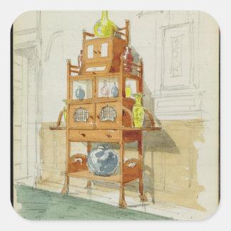 Exhibition Cabinet, c.1860s-70s (w/c & pencil on p Square Sticker