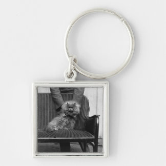 Exhibition Cat Club - Mondial 493 Silver-Colored Square Keychain