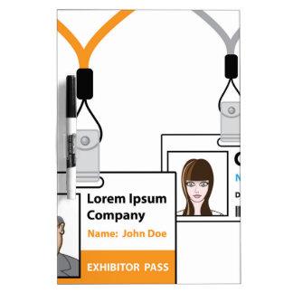 Exhibition pass dry erase board