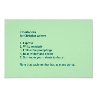 Exhortations for Christian Writers Poster