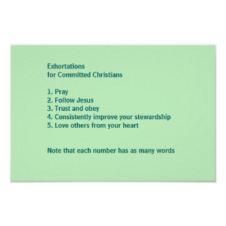 Exhortations for Comitted Christians Poster