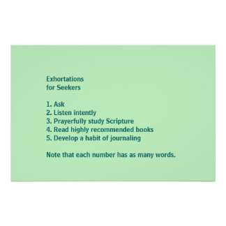 Exhortations for Seekers Poster
