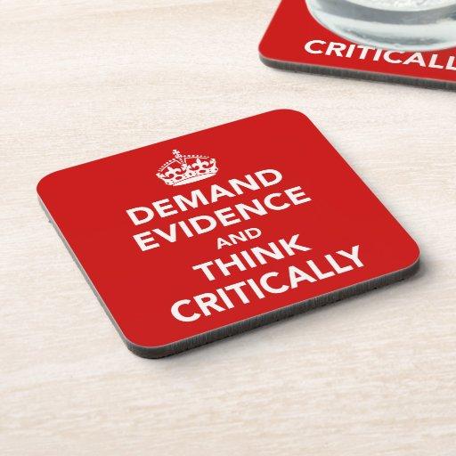 Exija las pruebas y piense críticamente posavasos