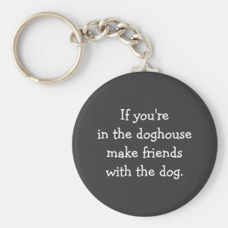 Exile to the Doghouse Silly Advice Basic Round Button Keychain