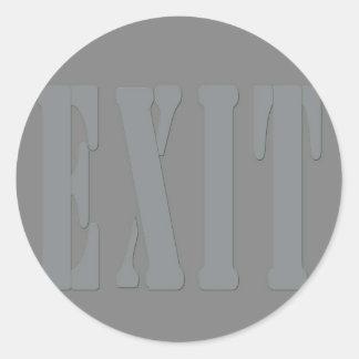 EXIT SIGN GREY CLASSIC ROUND STICKER