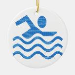 Éxito de la natación - los tiempos calientes refre ornamento de navidad