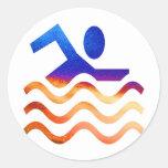 Éxito de la natación - mente fresca en épocas pegatinas redondas