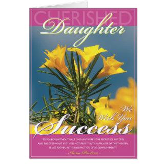 Éxito de oro de la hija de la floración tarjeta de felicitación