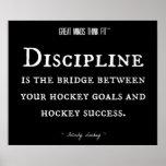Éxito y disciplina 012 del hockey póster