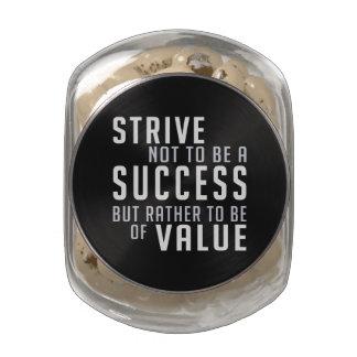 Éxito y latas y tarros de motivación del valor frascos de cristal jelly belly