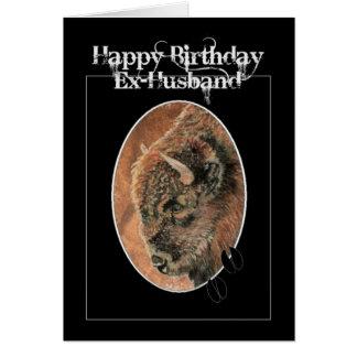 Exmarido divertido del cumpleaños, bisonte, animal tarjeta de felicitación