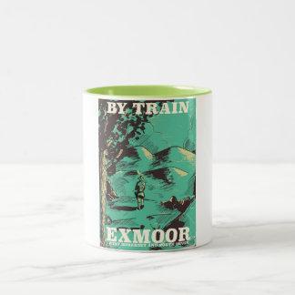 Exmoor National Park vintage travel poster Two-Tone Coffee Mug