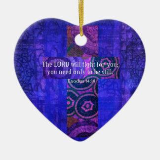 Exodus 14:14 Uplifting Beautiful Bible Scripture Ceramic Ornament